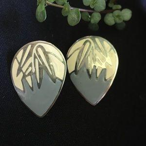 Vintage silver and grey petal shaped earrings